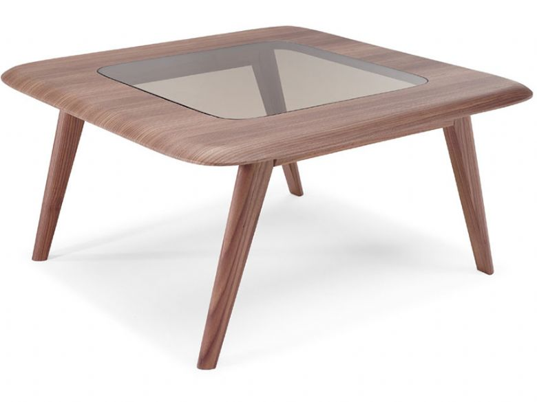 Natuzzi Editions Chianti Modern Square Walnut Coffee Table With Glass Top