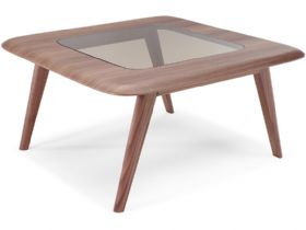 Chianti Modern Square Walnut Coffee Table With Glass Top