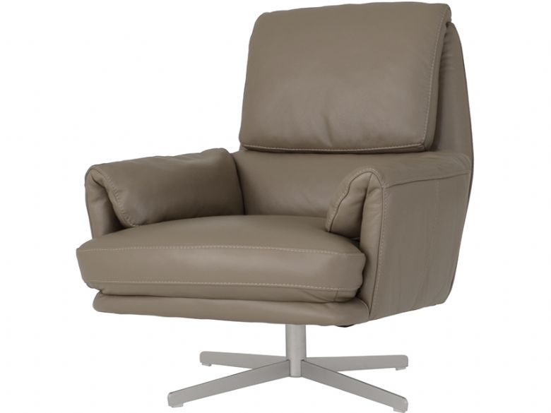Leather Swivel Chair With Metal Base