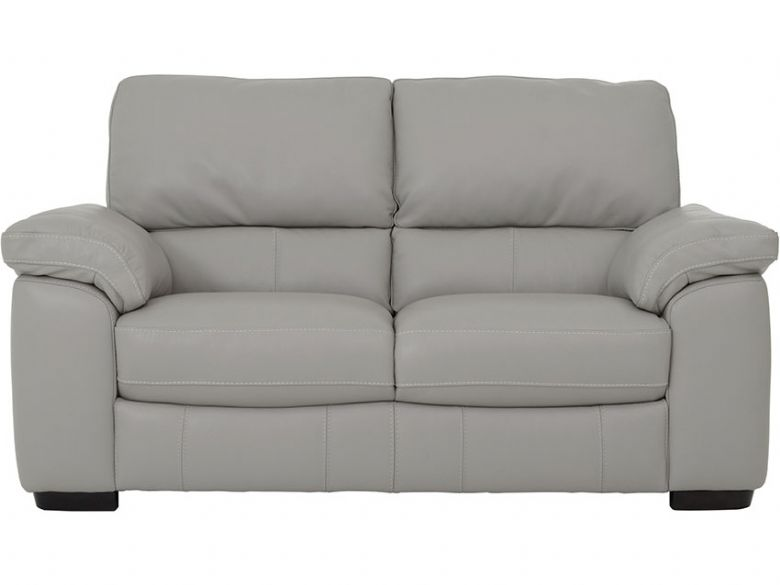 Rosie 2 Seater Leather Sofa In Silver Grey