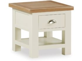 Painted Oak Lamp Table With Drawer