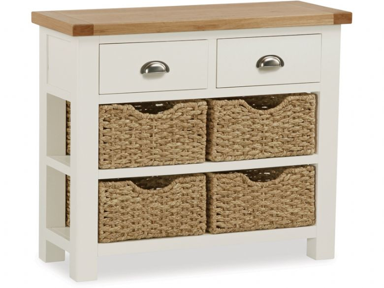 Edmondsbury Painted Oak Console Table, White Console Table With Storage Baskets