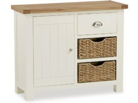 Painted Oak Small Sideboard With Baskets
