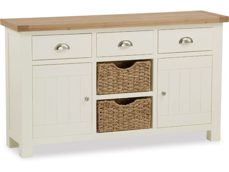 Painted Oak Large Sideboard With Baskets