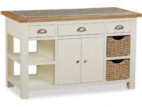 Painted Oak Kitchen Island With Baskets