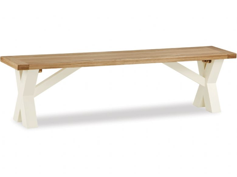 Painted oak cross bench