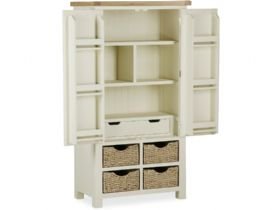 Painted oak larder unit open