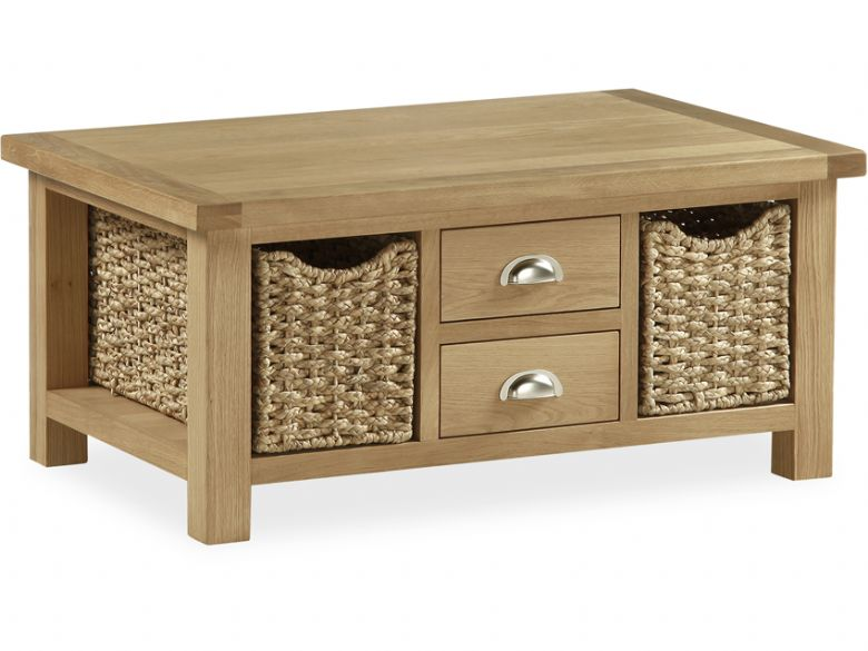 Newmarket Oak Large Coffee Table With Baskets Lee Longlands