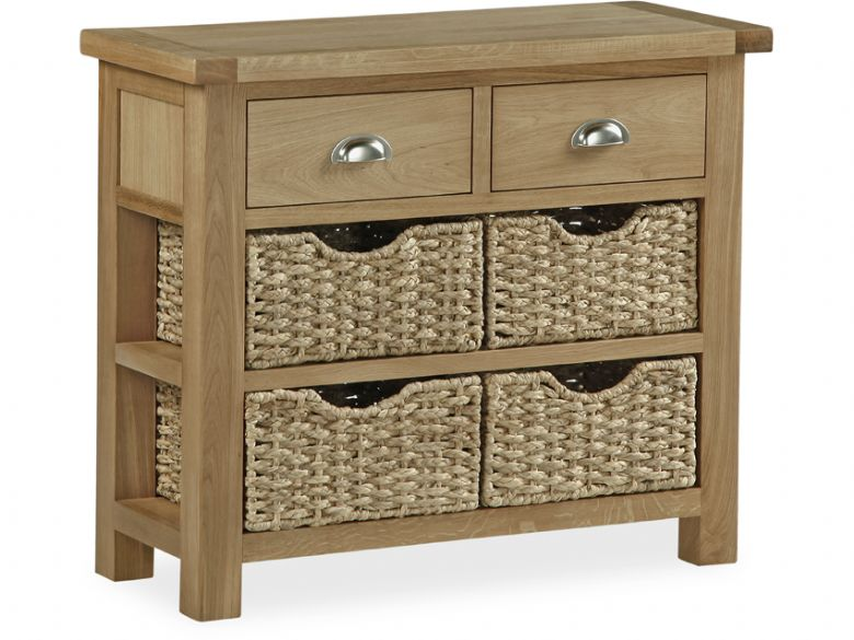 Newmarket Oak Console Table With Baskets Lee Longlands