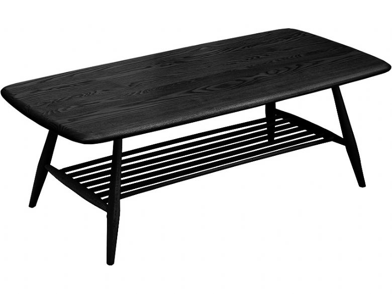 ercol originals coffee table with ash top in black