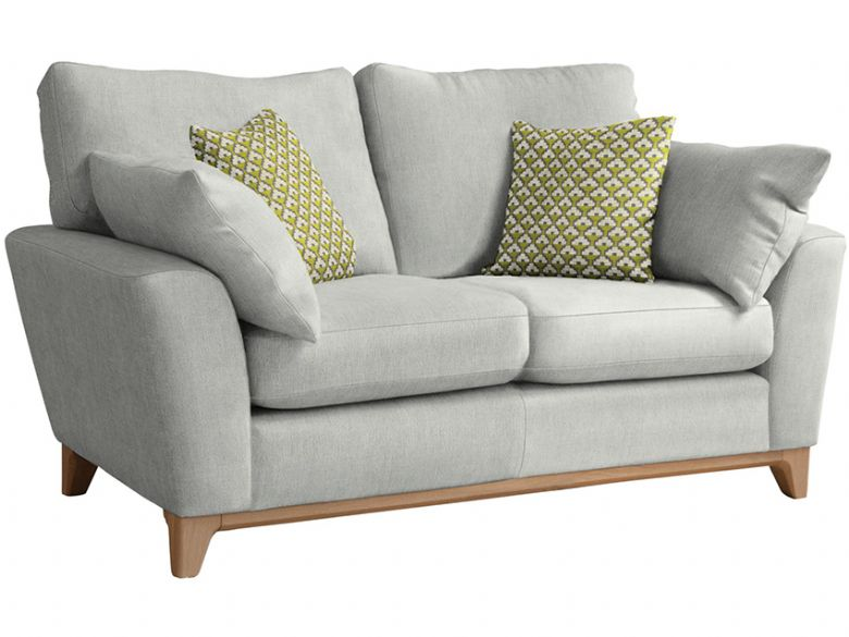 Ercol modern Novara medium 2 seater sofa in neutral fabric, with pale oak feet