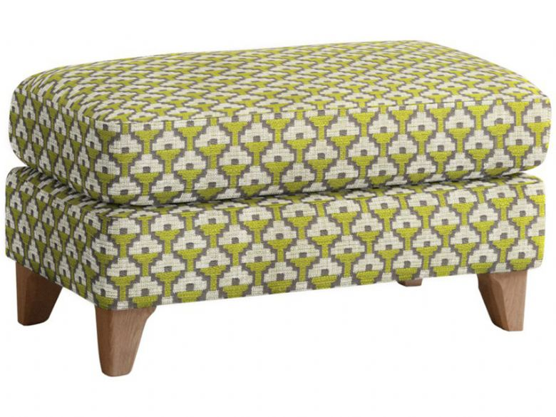 Ercol modern Novara fabric footstool with pale oak feet