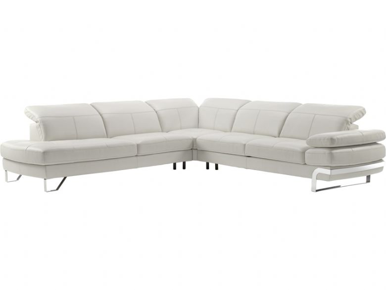 Modern Grey Leather Corner Sofa