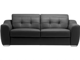 Milino modern leather sofa in brown with chrome feet