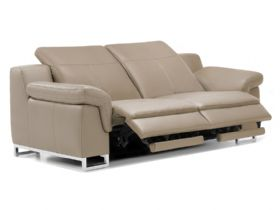 Modern leather sofa with footrest extended