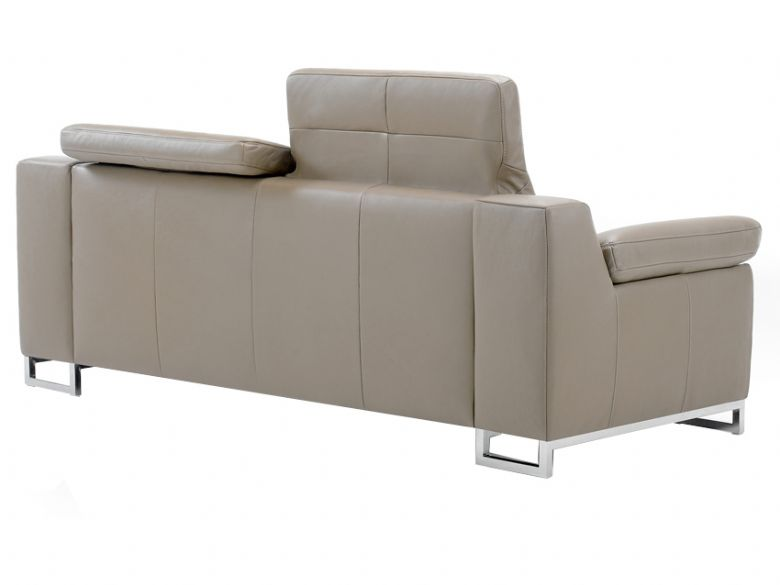 Modern leather sofa with headrest extended