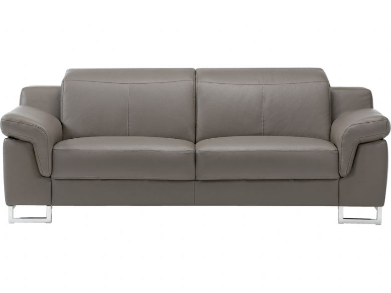 Modern leather sofa with chrome feet