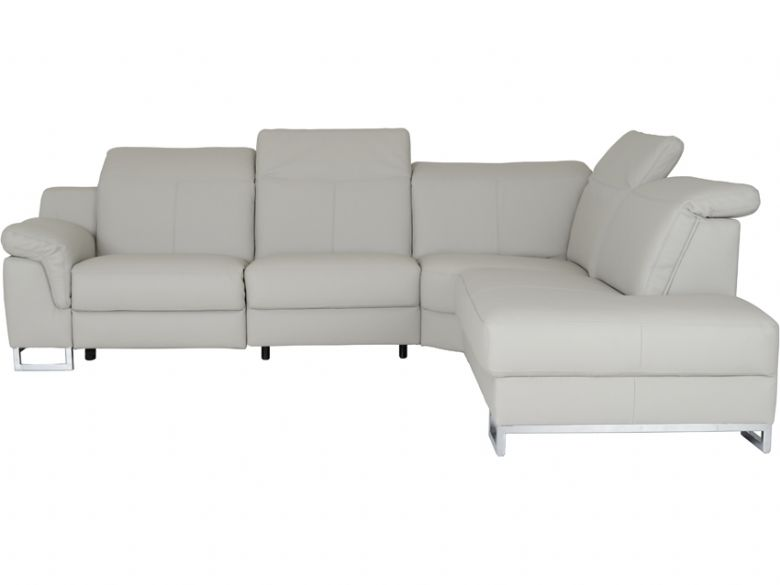 Modern Leather Corner Sofa With Adjustable Headrests