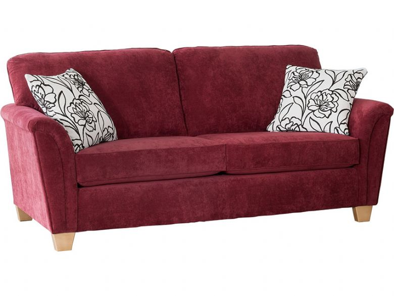 Alstons Barcelona modern 3 seater sofa in 5331 red sensual plain