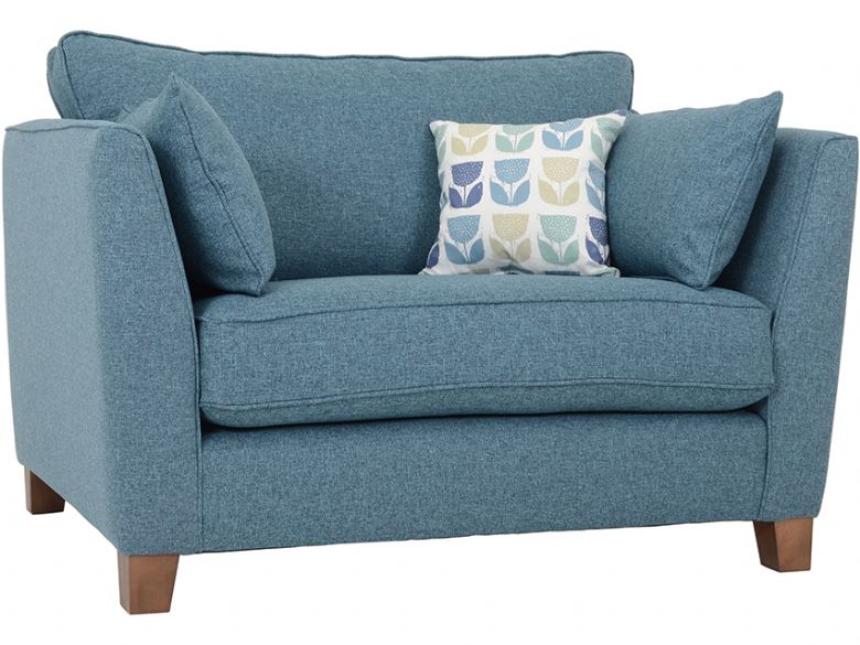 Norton modern fabric snuggler chair in crystal teal