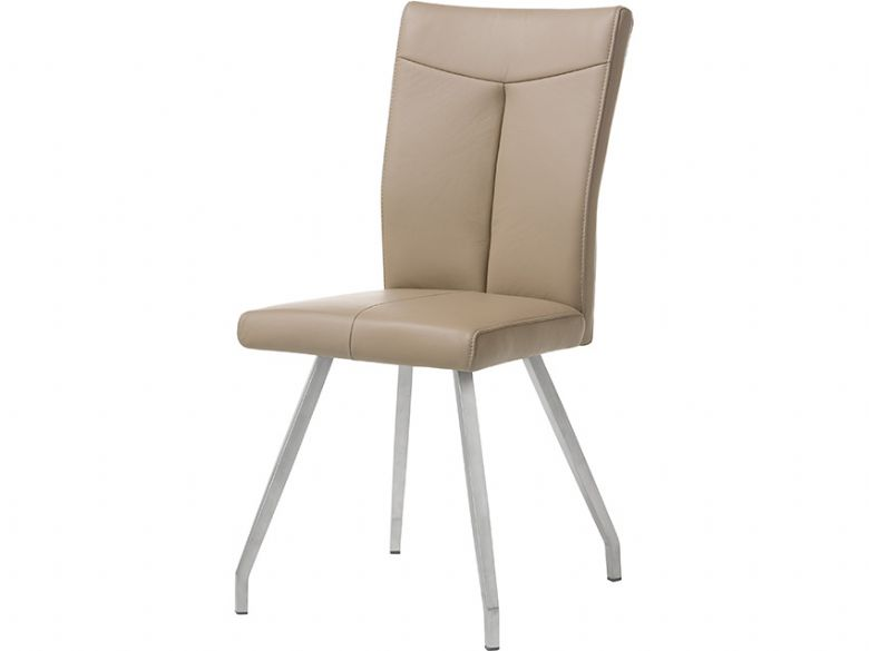 Leather Dining Chair In Taupe