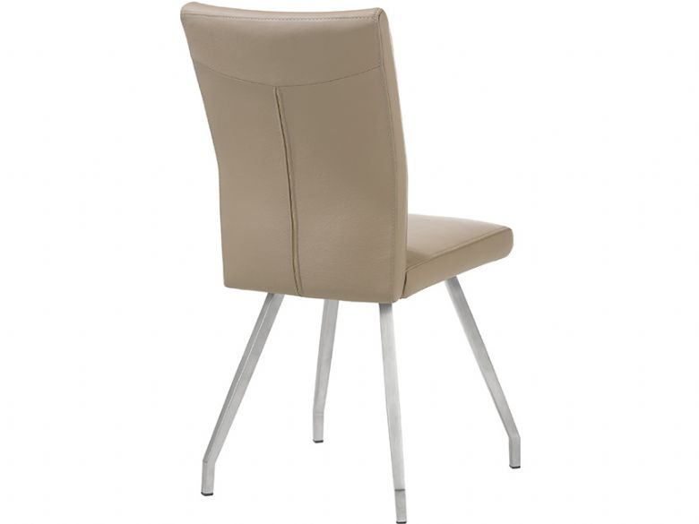 Flavia full leather dining chair in taupe
