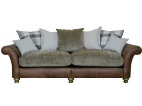 4 Seater Leather And Fabric Pillow Back Sofa
