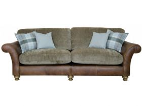 4 Seater Leather And Fabric Sofa