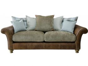 Longrow 3 Seater Leather And Fabric Pillow Back Sofa