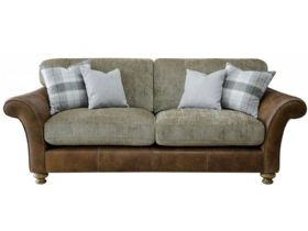 Longrow leather and fabric 3 seater sofa