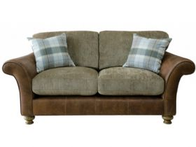 2 Seater Leather And Fabric Sofa