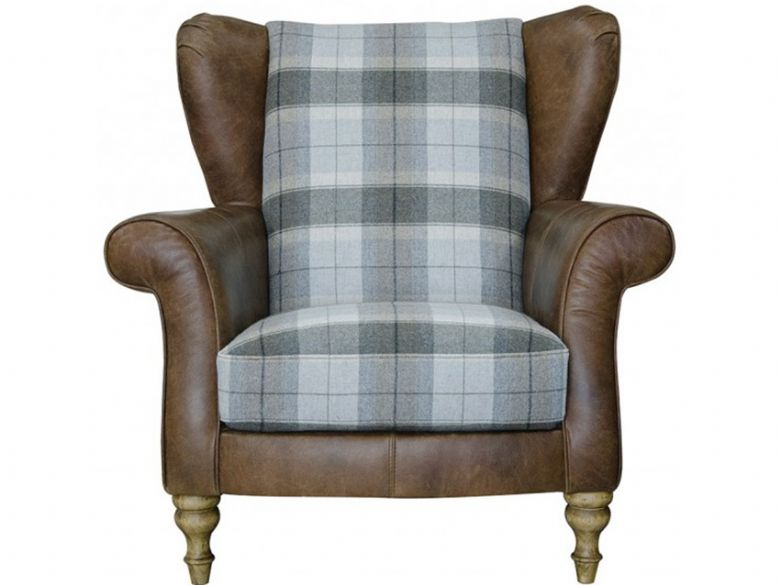 Longrow leather and fabric wing chair with check fabric