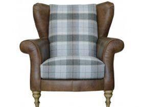 Leather & Fabric Wing Chair With Check Fabric