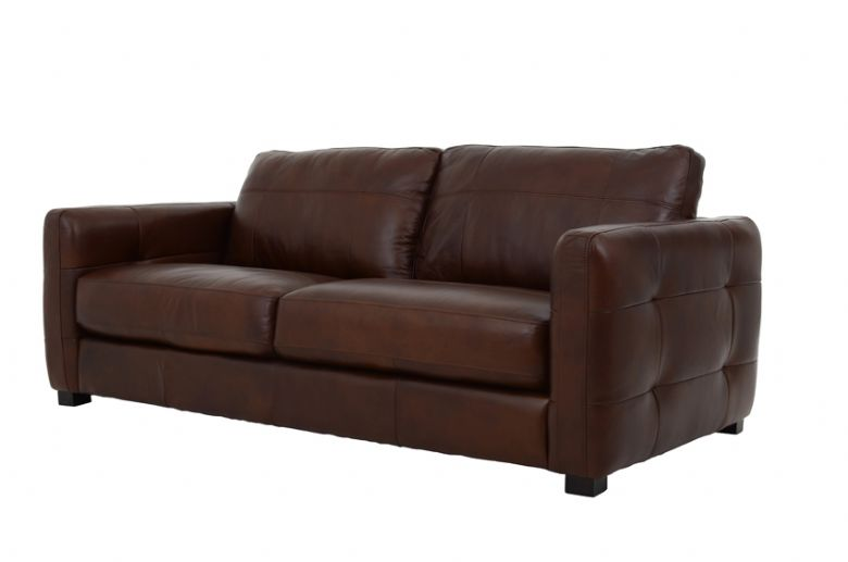 Kentville 3 Seater Leather Sofa Three Quarter