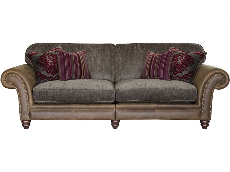 Carnegie leather and fabric sofa