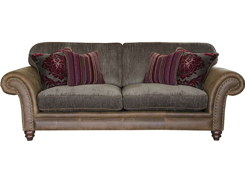 3 Seater Leather & Fabric Sofa