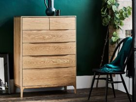 Ercol Rimini Range 6 Drawer Tall Wide Chest