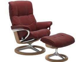Stressless Mayfair Small Leather Chair & Stool Signature Base