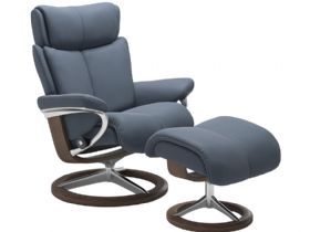 Stressless Magic Medium Leather Chair & Stool Signature Base