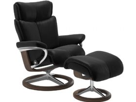 Stressless Magic Leather Chair & Stool Signature Base