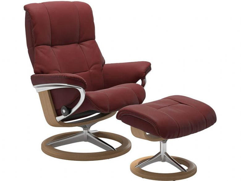 Stressless Mayfair Leather Chair & Stool Signature Base