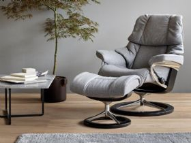 Stressless Reno Fabric Chair and Stool in Calido Light Grey