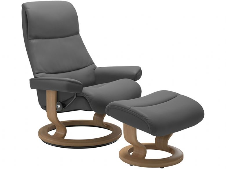 Stressless View Large chair and stool classic base at Lee Longlands