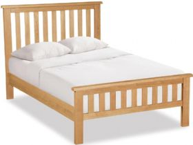 Oak 4'6 Double Slatted Bed Frame