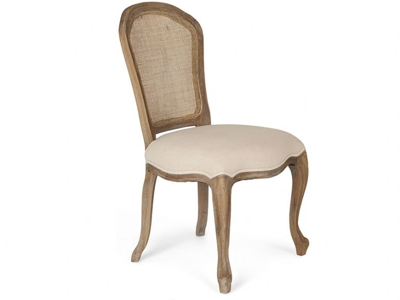Seine classic oak rattan back chair, with a distressed finish and cream seat