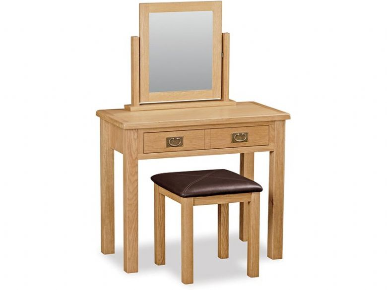 Fairfax Compact Oak Dressing Table, Mirror and Stool Set