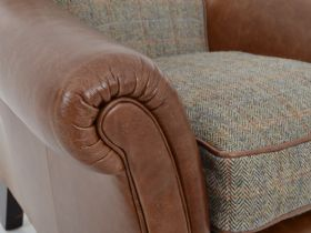 Harris Tweed Dalmore leather and tweed accent chair