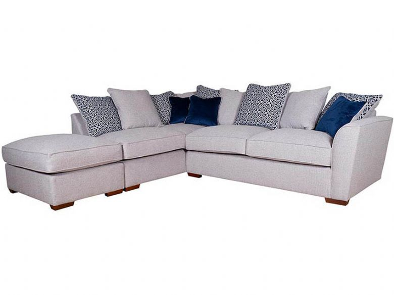 Reiko LHF Pillow Back Fabric Corner Sofa with Stool
