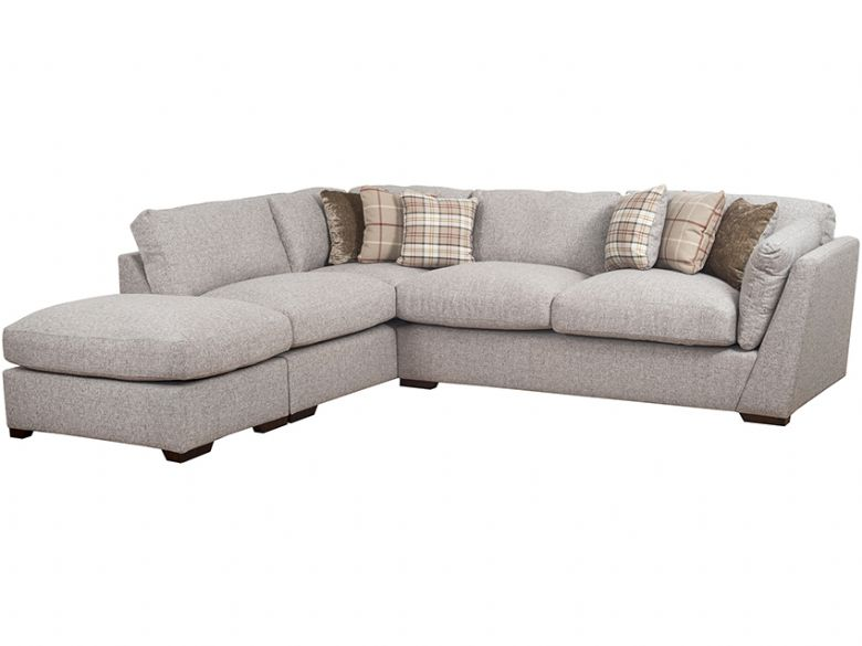 Rheta LHF Fabric Corner Sofa With Stool
