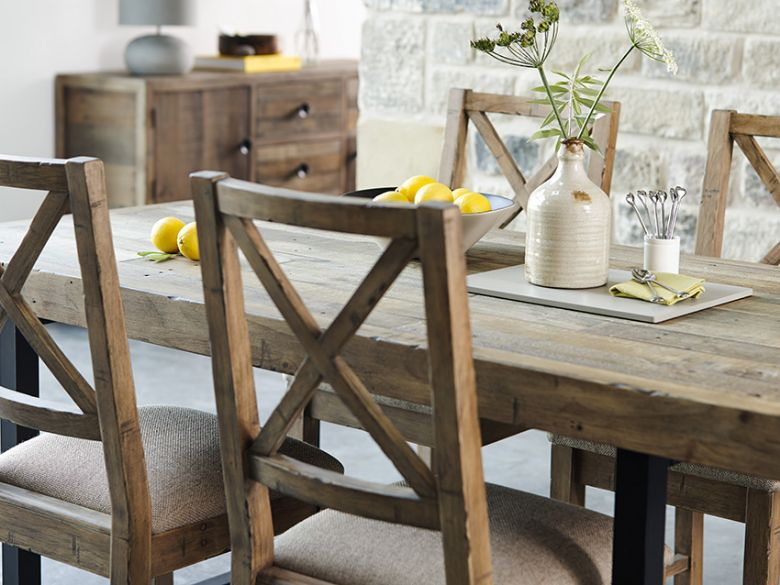Halsey reclaimed 180cm dining table; Halsey reclaimed rustic dining collection; Halsey reclaimed rustic dining collection ... & Halsey 180cm Reclaimed Dining Table - Lee Longlands